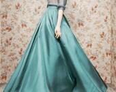 Vintage 50s blue/green satin empire full-length casual skirt