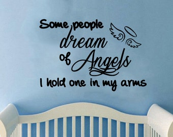 """Some People Dream of Angels-adorable nursery/child's room Wall Decal (27"""" X 18"""")"""