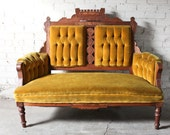 Mustard Yellow Gold Eastlake Antique Vintage Settee Love seat