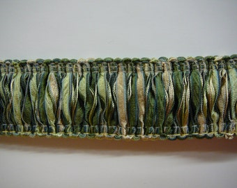 """1.25"""" loop fringe with ribbons in shades of green and tan"""
