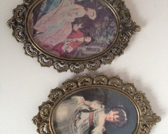 Vintage brass frames, ornate Pair