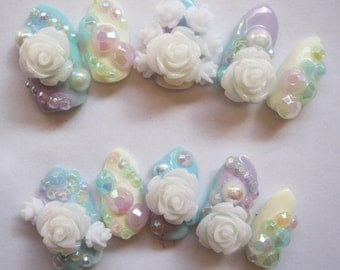 "3D deco nails- ""Pastel Dreamland"""