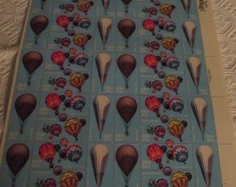 Hot Air Balloons Sheet of 40 US Postage Stamps 1982 Collection