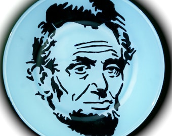 Blue Hand Painted Abraham Lincoln Plate