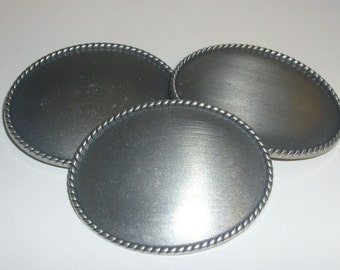 "3- 3.5"" Oval Belt Buckle Blanks - Antique Silver"