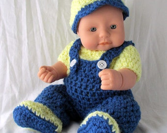 Blue Dungarees Yellow Onesie Set For 12 In Baby Dolls,12 inch Baby Alive or Reborns,