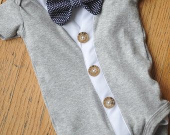 Grey and white short sleeve Cardigan bodysuit with blue dot or red bowtie with undershirt perfect for your little gentleman