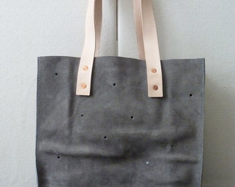 Large Dot Suede Tote - Grey Color