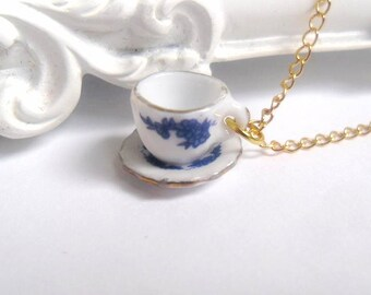 Alice in Wonderland Blue Floral Teacup Necklace, Gold, Tea cup, Flower, Tea Party
