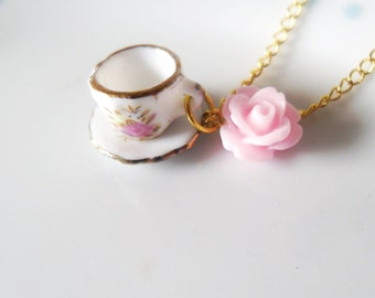 Pink Cameo Rose Flower Teacup Necklace, Floral, Gold, Tea cup, Miniature, Mini, Cute, Dainty