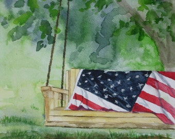 "This is a print of my original  watercolor painting titled ""An American Summer ""   5 x 7, 8 x10,11 x 14,16x20,wrapped canvas, and notecards"