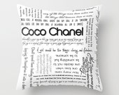 Coco Chanel Inspirational Quotes Typography Home Decor Pillow Cover 18x18, Custom Color or Black and White