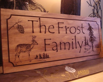 Rustic Family Last Name Welcome Signs Pine Tree Pine Cone Deer Primitive wood carved Sign Wooden Carved Cabin Plaque Doe Buck