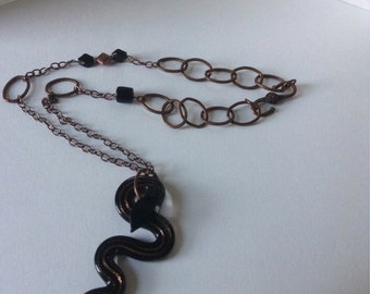 Copper chain with black and copper snake focal