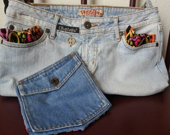 Peace Sign Jean Purse with Matching Pocket Wallet *Upcycled*