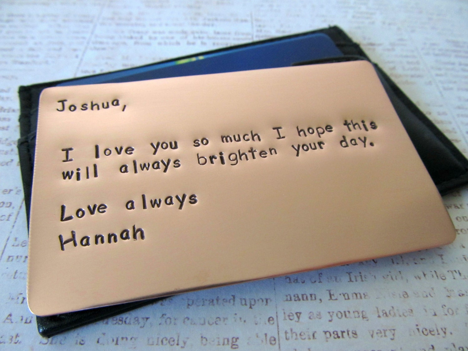Personalized wallet insert copper card hand stamped metal for What to get my boyfriend for anniversary