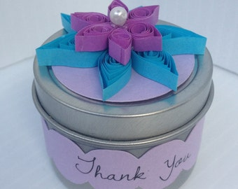 Spice Favor Tin with Quilled Paper Flower