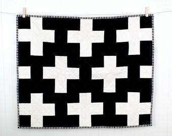 Black and White Plus Quilt, Plus Crib Quilt, Black and White Crib Quilt, Modern Crib Quilt, Modern Plus Quilt