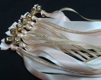 100 Wedding Wands Triple Ribbon Bells Gold, Ivory and blush satin ribbons as pictured