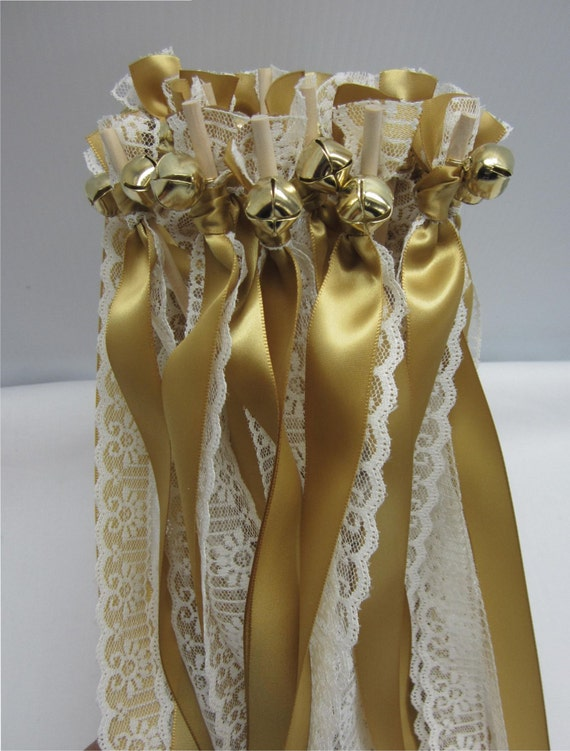 Wedding wands with bells and ribbons ceremony wands 250 w for Wedding wands
