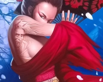 "Geisha painting oil painting on canvas 32""X48"""