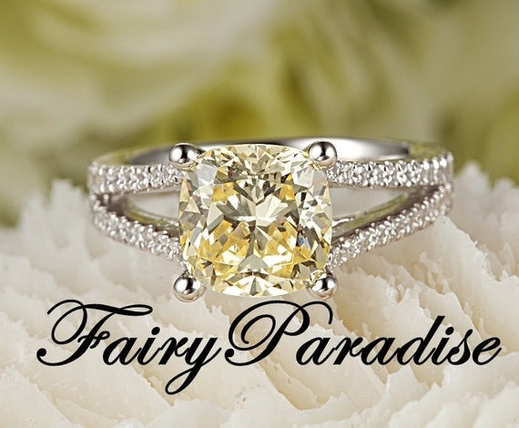 2.5 Carat Man Made Yellow Diamond Engagement Ring / Promise Rings, Cushion  Cut Split Shank