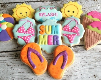 Summer Beach Pool Themed Decorated Sugar Cookies