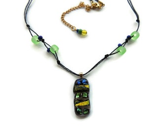 Fused glass necklace,rectangle beaded glass pendant necklace,green yellow blue glass cubes fused necklace,dichroic glass cubes necklace