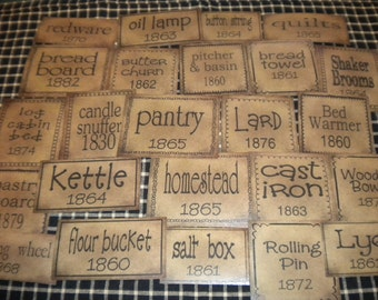 Set of (21) Assorted Sizes Words of the 1800's Prim Pantry Labels