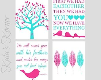 PINK and TURQUOISE NURSERY - Bird Nursery Decor - Bible Verse Print - 4 Piece Print Set