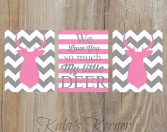 Girl Nursery Art- Chevron Nursery Prints - Deer Nursery - Nursery Decor - Playroom Art - Kids Wall Art - Deer Art - Pink Gray Nursery
