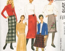 """McCalls 2916, Sz 12-16, Hip 36 - 40"""". Pleated Wrap Skirts in Four Lengths, Misses Pattern copyright 2000."""