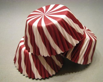 50 Premium Red Swirl Cupcake Wrappers/ Baking Cups/ Cupcake Liners