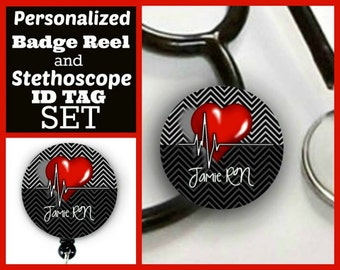 Badge reel and stethoscope tag set - ES01