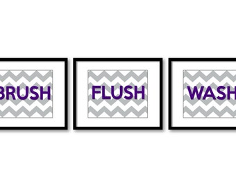Bathroom Decor Bathroom Print Purple Grey Gray Bathroom Art Print Set of 3 Wash Brush Flush Wall Decor
