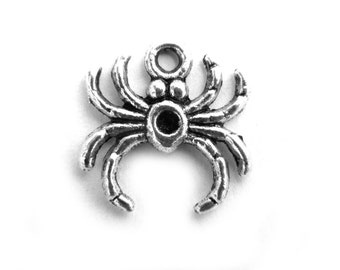 10 Spider Charms - 16mm - Halloween Charm
