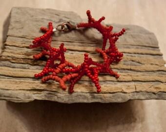 Imitation coral beads bracelet