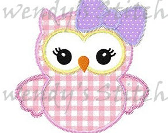 Girl owl applique machine embroidery design digital pattern