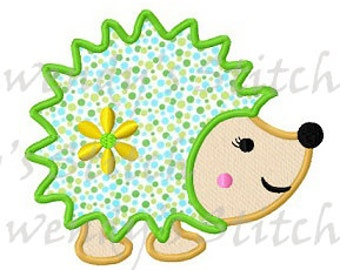 Hedgehog applique machine embroidery design digital pattern