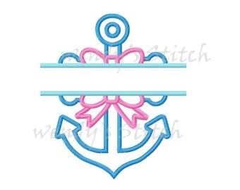 split anchor applique machine embroidery design instant download