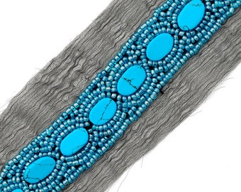 Turquoise Beaded Trim 1 yard, 7/8 inch, OSB-17308