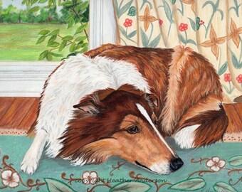 8x10  Giclee Print, Rough Collie, Hand Drawn Art, Collie Art, sable Collie, Dog Art Print