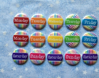 "Colorful Rainbow Days Of The Week Buttons, 1"" Flatback Buttons, 15 Buttons Total"