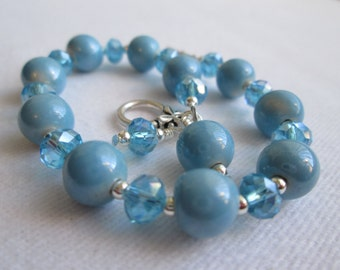 Blue Ceramic and Crystal Bracelet