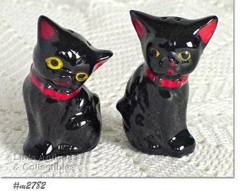Vintage Black Cats Salt and Pepper Shaker Set (Inventory #M2782)