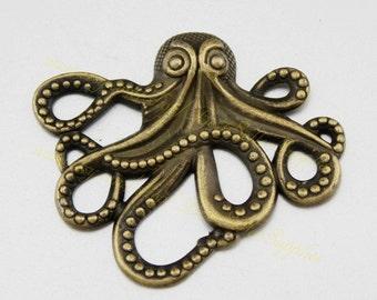 6 PCs - Octopus, Octopus Pendant, Octopus Charm, Marine Animals, Sea Animals, Fittings, DIY Supplies, Jewelry Making, Findings, 44*36mm