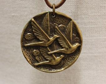 Beautiful bird landscape solid brass medal handmade