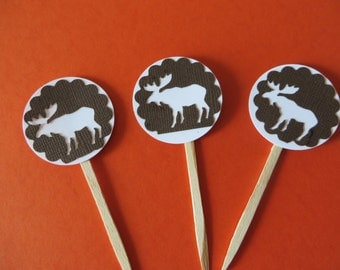 Moose party picks - great for the moose lover in your life - rustic party picks