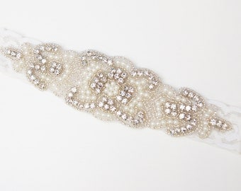 Crystal pearl and lace headband