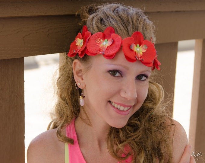 Red Orchid Flower Crown